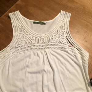 White tank top with crotchet top detail